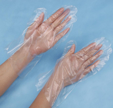 Food handling low density polyethylene disposable hand gloves