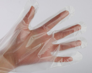 60cm high density clear food service polythene gloves.