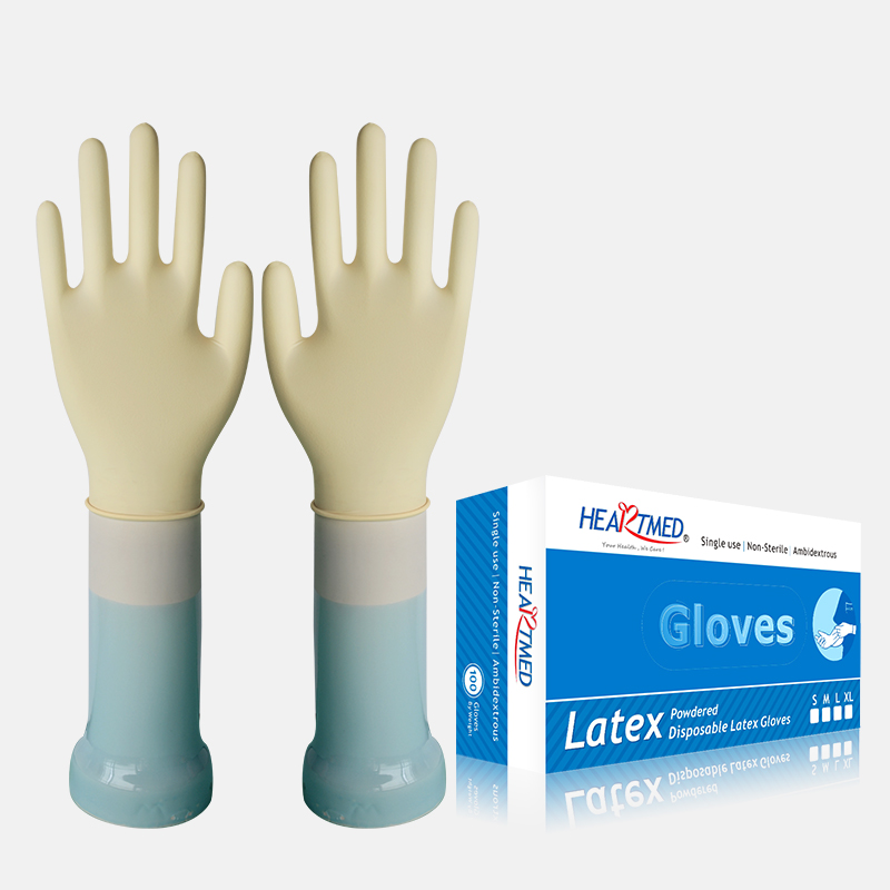 Ultra thin lightly powdered disposable non sterile latex gloves