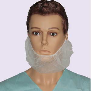 White disposable medical beard cover for surgery