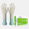 Medium size clear powdered disposable vinyl gloves for food preparation