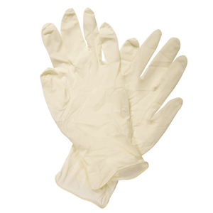 Lightly powdered non sterile latex disposable examination gloves