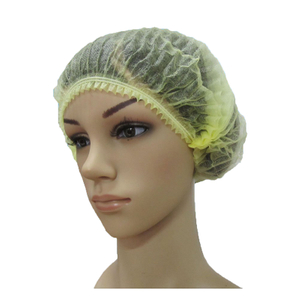 Yellow hypoallergenic disposable non woven bouffant hair net cap
