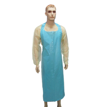 Blue plastic disposable surgical PE apron